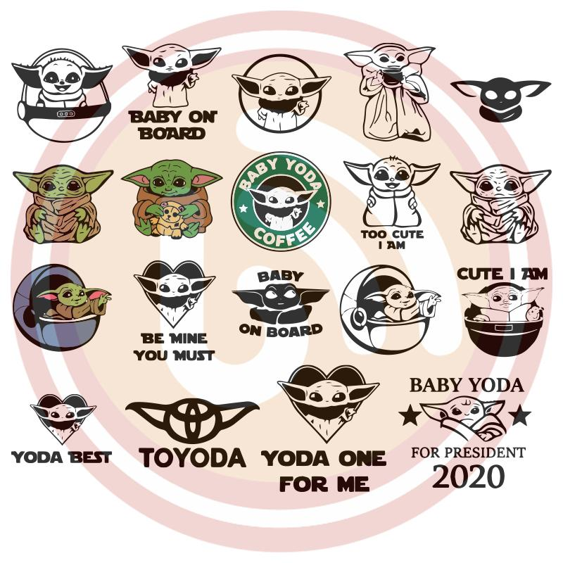 Download Baby Yoda Bundle SVG Files For Silhouette, Files For ...